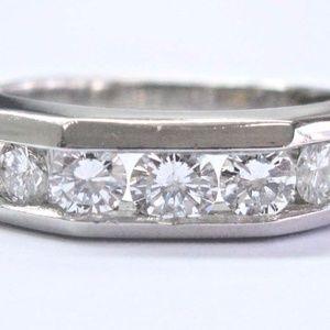 Other - Platinum & 18Kt 5-Stone Round Cut Diamond Men's Ri
